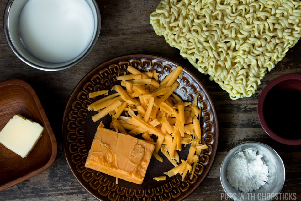 Cheese Ramen Ingredients (Instant Noodles, cheddar cheese, milk, butter, corn starch)