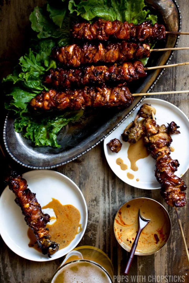 Grilled Chicken Skewers served with a peanut sauce
