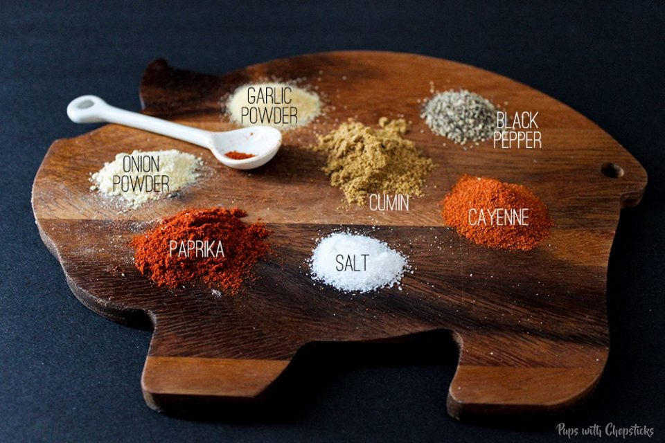 Spices laid out on a table that is used for Crispy Buttermilk Popcorn Chicken