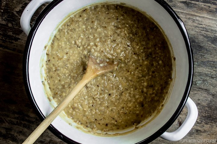 Photo of savory oatmeal with miso and cheese added into it