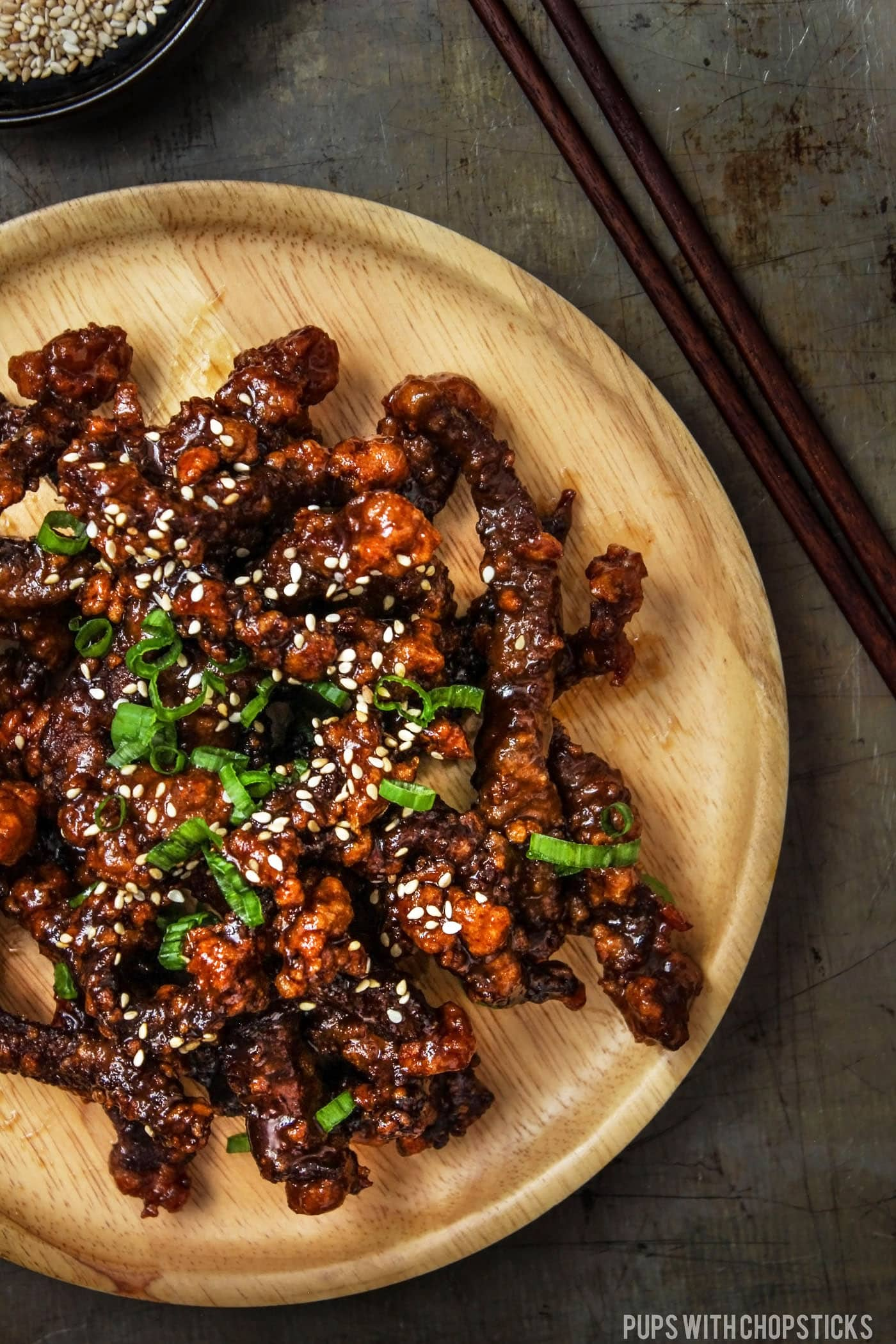 Super crispy beef tossed with a sweet and sticky sauce